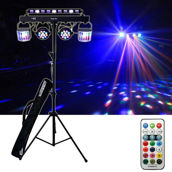 CR Lite USB C Party Set Stage Light Bar 5 LED Light Effects Derby Wash Strobe UV incl. Tripod Carry Bags Remote