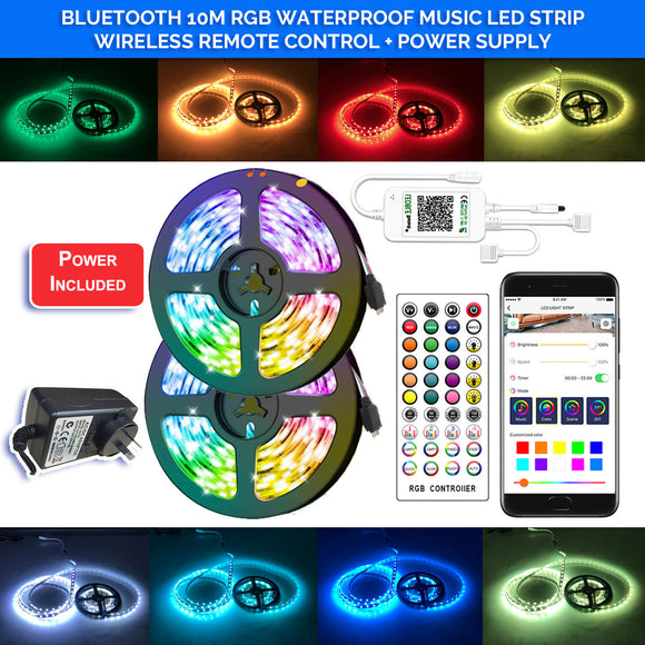 Bluetooth 10M RGB 5050 LED Music Strip Decoration waterproof Lights 300 LEDs 40 key IR Controller with Power supply