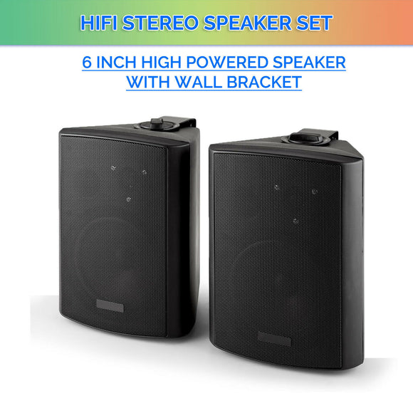 "6.5"" inch Black Passive Speakers Pair 240w Wall Mount Bracket 2 Way Bookshelf Stereo DJ PA"