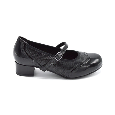 DB Black Ladies Extra Wide Court Shoe