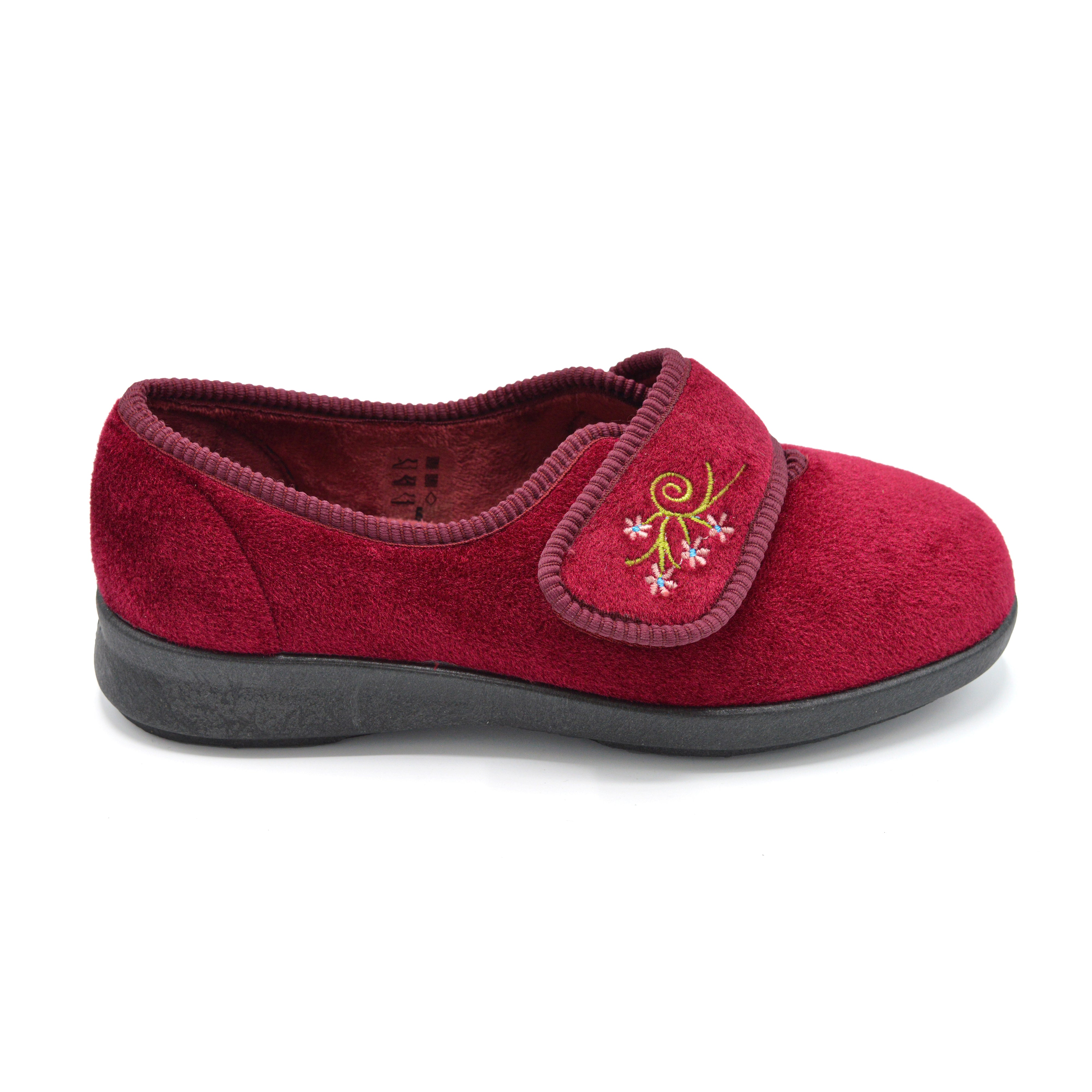 DB Burgundy Ladies Extra Wide Fit Slippers