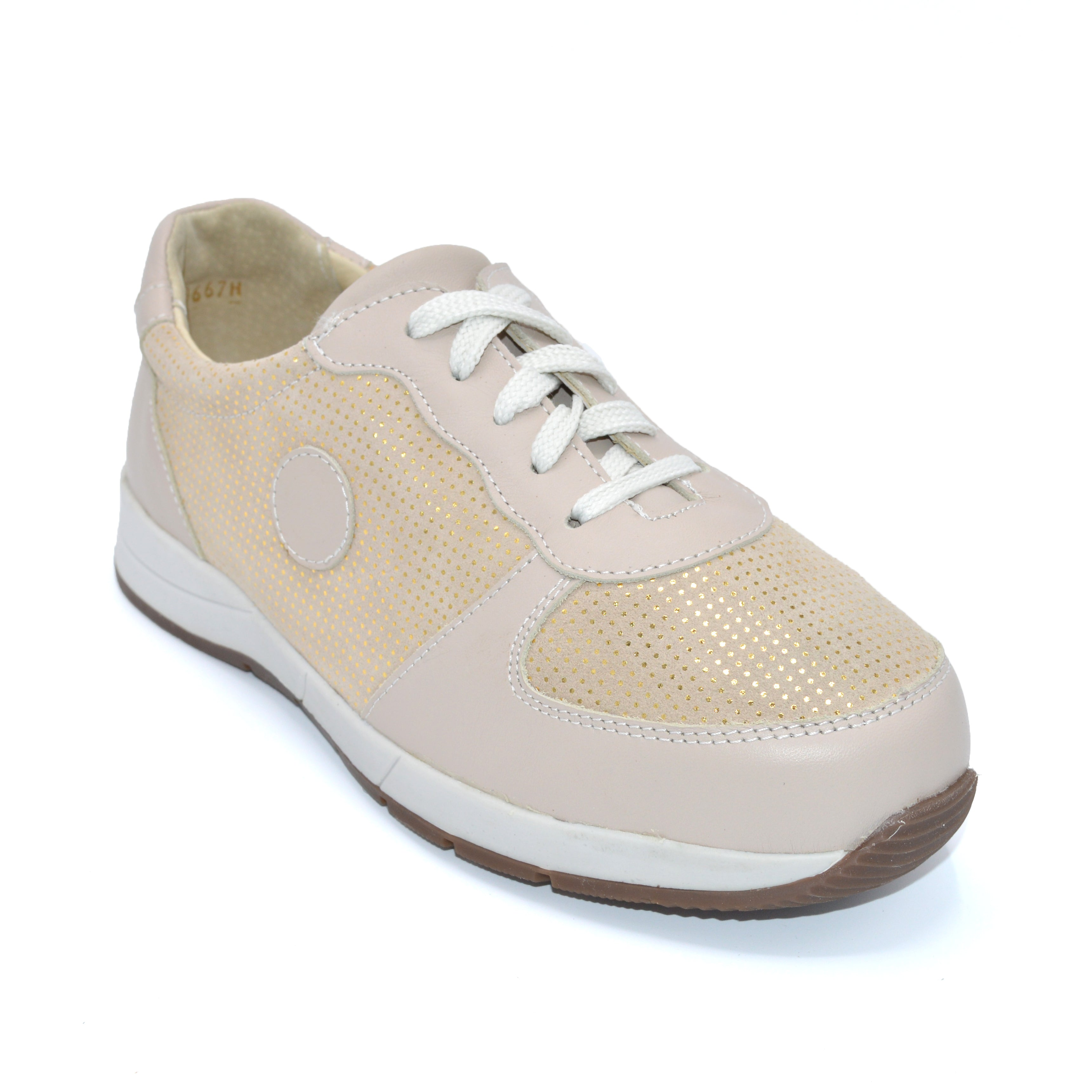 Beige Ladies Wider Fit Trainers For Bunions