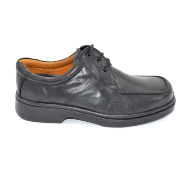 DB Black Leather Lace-Up Wide Shoe