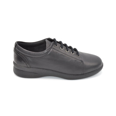 Padders Wide Black Ladies Lace-Up Shoes