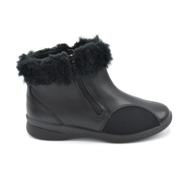 Padders Zipped Wide Black Fitting Boot