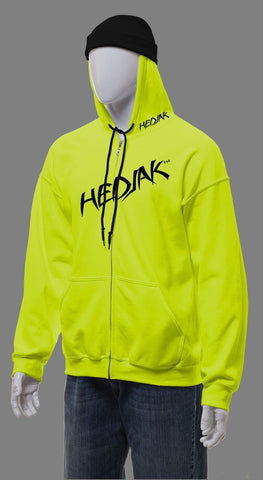 HEDJAK Standard Hi Vis Lime Zip Up with Matching Chest Logo
