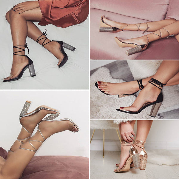 Heeled Sandals Bandage Rhinestone Ankle Strap Pumps - Boujee Boutique Incorporated
