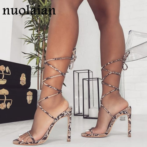 Leather  Platform Chaussure Gladiator High Heels - Boujee Boutique Incorporated
