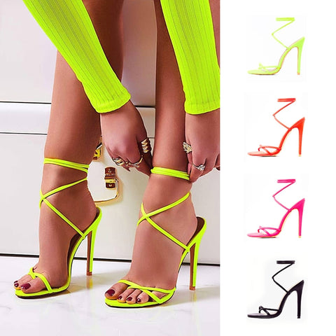Summer Sandals Candy Color Point Toe Lace Ankle Strap  High Heels - Boujee Boutique Incorporated