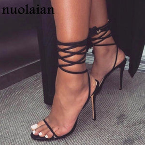 Black ankle strap Leather Gladiator Shoes - Boujee Boutique Incorporated