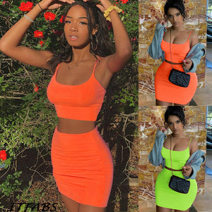 Womens Tank Crop Tops Skirt Two Piece - Boujee Boutique Incorporated