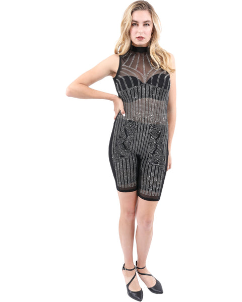 Trudy Stud Detail Mesh Romper - Boujee Boutique Incorporated