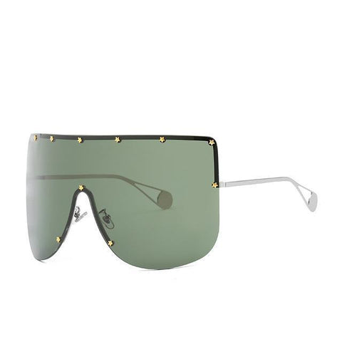 Elaiza Oversized Sunglasses - Silver Green - Boujee Boutique Incorporated