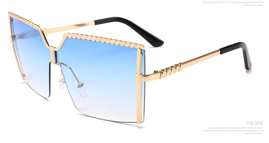 Oversized Square Sunglasses Women Luxury Brand Vintage Alloy Frame Sun Glasses Clear Lens One Piece Rimless Eyewear Shade Bulk - Boujee Boutique Incorporated