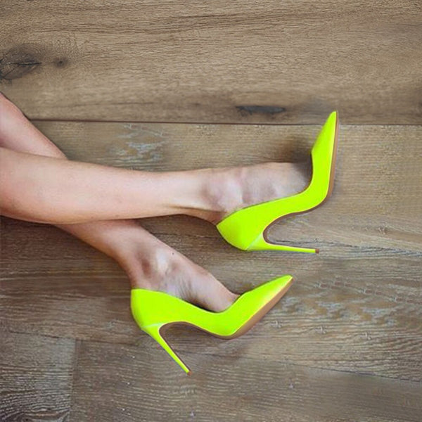 GENSHUO Brand Shoes 10 12CM Heels Women Shoes Pumps Stiletto Neon Yellow Sexy Party High Heels Shoes Big Size 10 11 12 - Boujee Boutique Incorporated