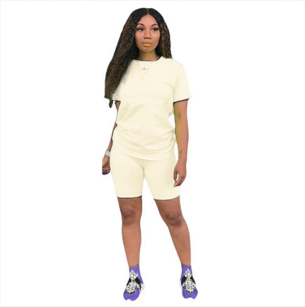 2019 New Women Solid Sporting Casual Two Piece Set Short Sleeve Tee Top Above Knee Pants Suit Tracksuit Outfit 4 Color - Boujee Boutique Incorporated