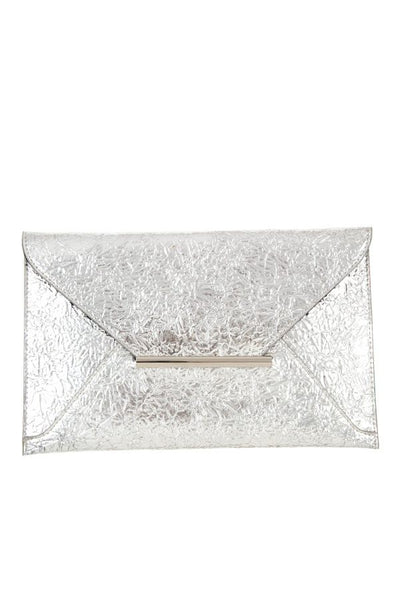 Faux wrinkled leather clutch bag - Boujee Boutique Incorporated