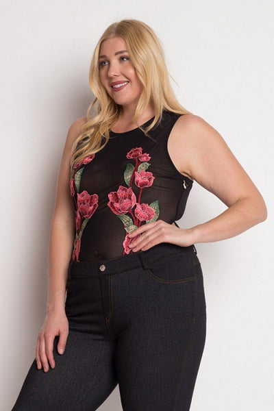 Floral Embroidery Mesh Bodysuit - Boujee Boutique Incorporated