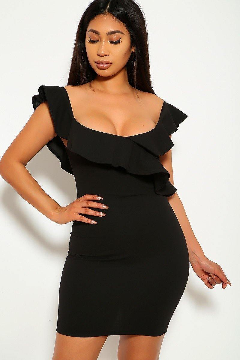 Solid, Ruffled Detail, Sleeveless, Round Neckline, Back Slit, And Stretchy Dress - Boujee Boutique Incorporated
