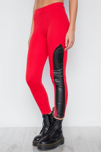 Faux Leather Sides Mid-rise Leggings - Boujee Boutique Incorporated