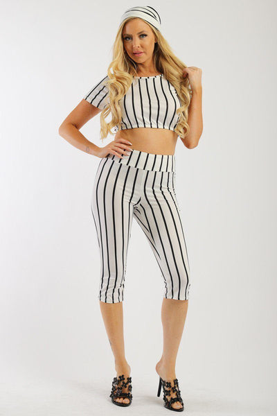 Pin Striped, 3 Piece Top, Capri Legging And Scarf Set - Boujee Boutique Incorporated