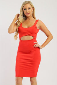 Solid Sleeveless Dress With Scoop Neck, Low Back And Front Cutout - Boujee Boutique Incorporated