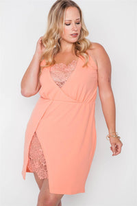 Plus Size Lace Detail Bodycon Mini Dress - Boujee Boutique Incorporated