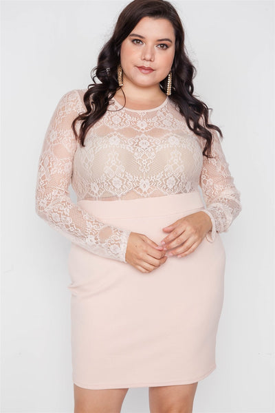 Plus Size Combo Lace Long Sleeve Dress - Boujee Boutique Incorporated