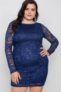 Plus Size Navy Lace Open Back Bodycon Mini Dress - Boujee Boutique Incorporated