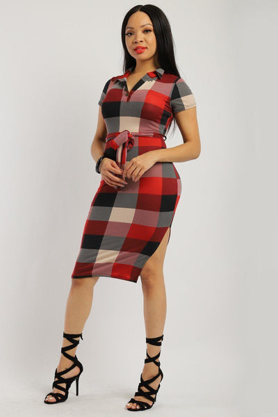 Plaid, Midi Tee Dress - Boujee Boutique Incorporated