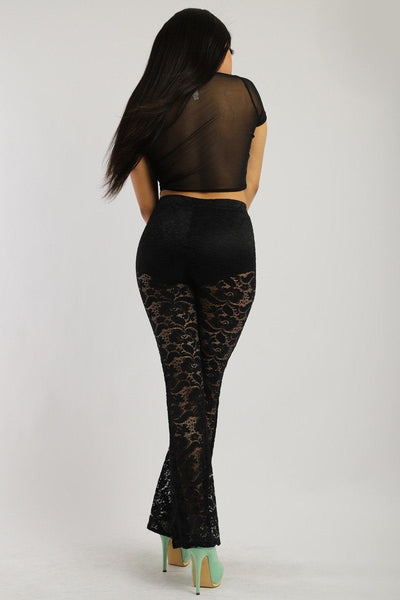 Lace, Full Length, High Waisted Pants In A Bodycon Fit - Boujee Boutique Incorporated
