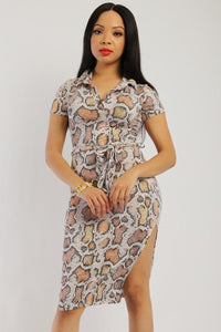 Snake Print, Midi Tee Dress - Boujee Boutique Incorporated