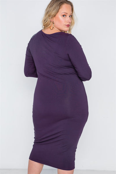 Plus Size Basic Bodycon Midi Dress - Boujee Boutique Incorporated