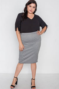 Plus Size Black White Plaid Pencil Skirt - Boujee Boutique Incorporated