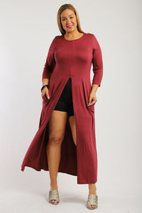 Solid Long Body Tunic Top - Boujee Boutique Incorporated