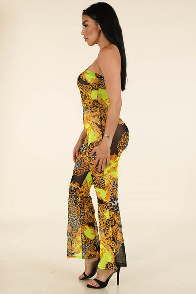 Printed Mesh Tube Jumpsuit - Boujee Boutique Incorporated