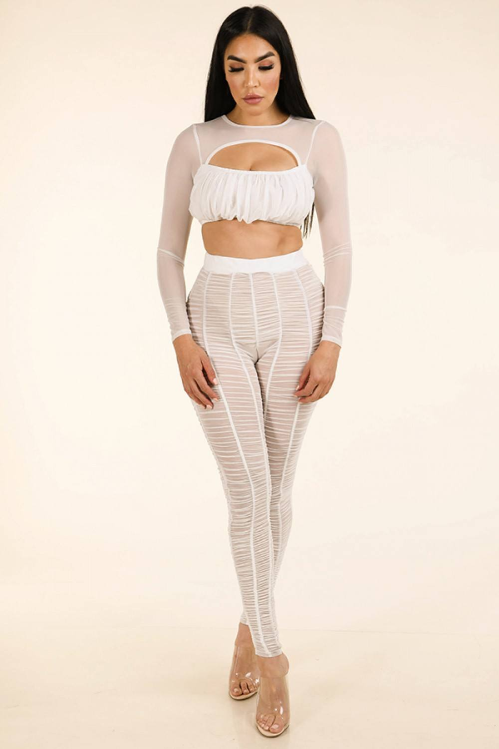 Shirred Mesh Top & Ruched Mesh Leggings Set - Boujee Boutique Incorporated