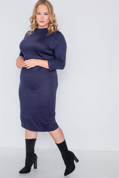 Plus Size Navy Basic Bodycon 3/4 Sleeve Dress - Boujee Boutique Incorporated