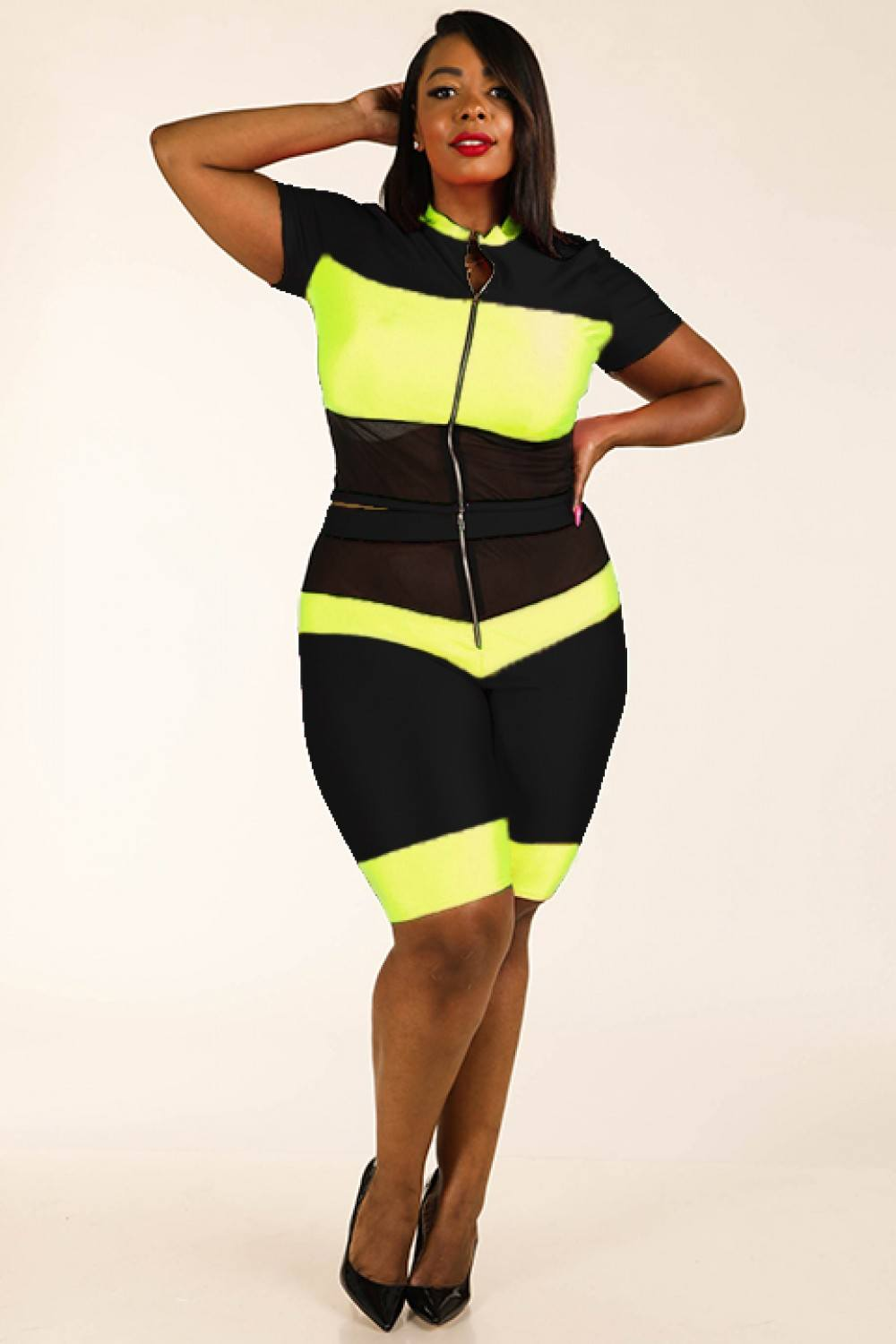 Color Blocked Zippered Nylon Spandex Top & Biker Shorts Set - Boujee Boutique Incorporated