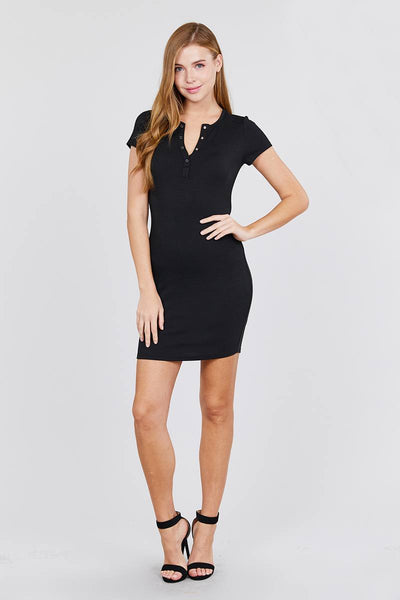 Short Sleeve Henley Mini Knit Dress - Boujee Boutique Incorporated