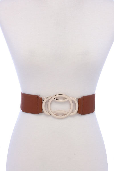 Circle Metal Buckle Pu Leather Elastic Belt - Boujee Boutique Incorporated