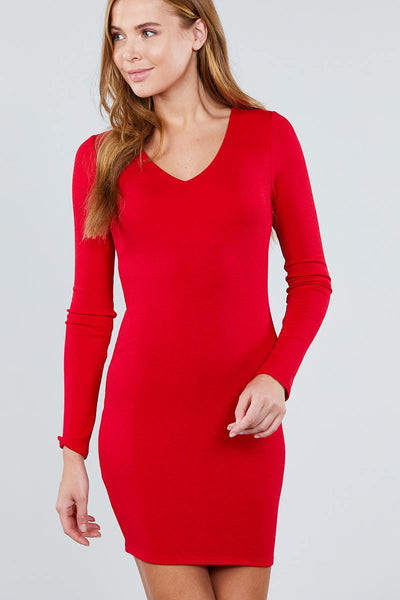 Long Sleeve V-neck Knit Mini Dress - Boujee Boutique Incorporated