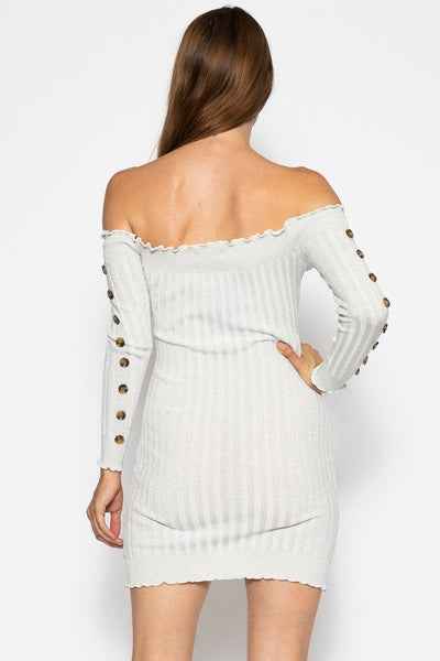 Off The Shoulder Knit Sweater Dres - Boujee Boutique Incorporated