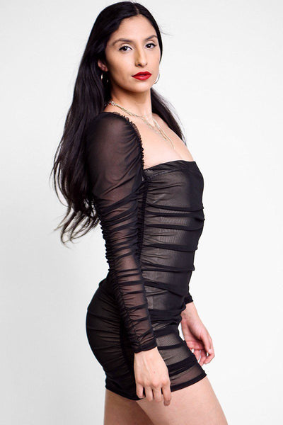 Mesh Ruched Bodycon Tube Dress - Boujee Boutique Incorporated