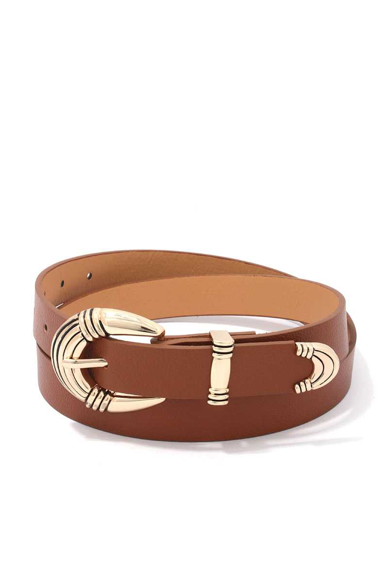 Metal Buckle Pu Leather Belt - Boujee Boutique Incorporated