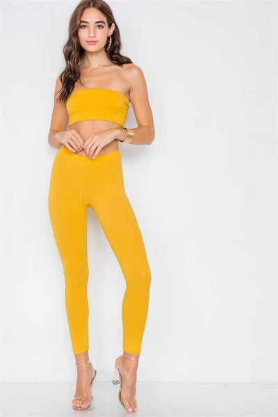 Ribbed Crop Tube Top & Ankle Legging Set - Boujee Boutique Incorporated