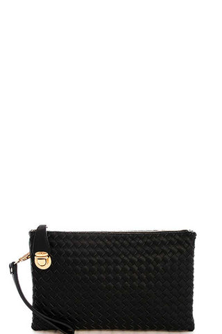 Fashion Cute Trendy Woven Clutch Crossbody Bag With Two Straps - Boujee Boutique Incorporated