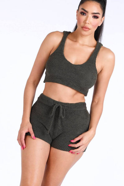 Textured Knitted Tank Top Short Set - Boujee Boutique Incorporated
