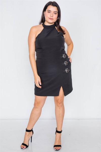 Plus Size Halter Buckle Hip Mini Dress - Boujee Boutique Incorporated