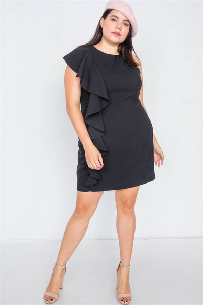 Plus Size Trim Frill Sleeve Mini Dress - Boujee Boutique Incorporated